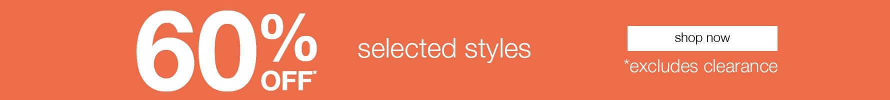 60% off selected styles