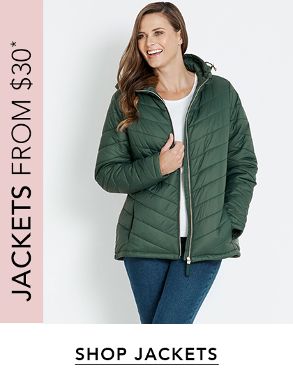Jackets from $30