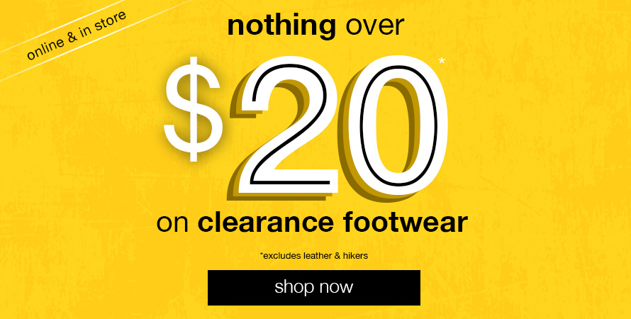 Nothing over $20 Clearance Footwear